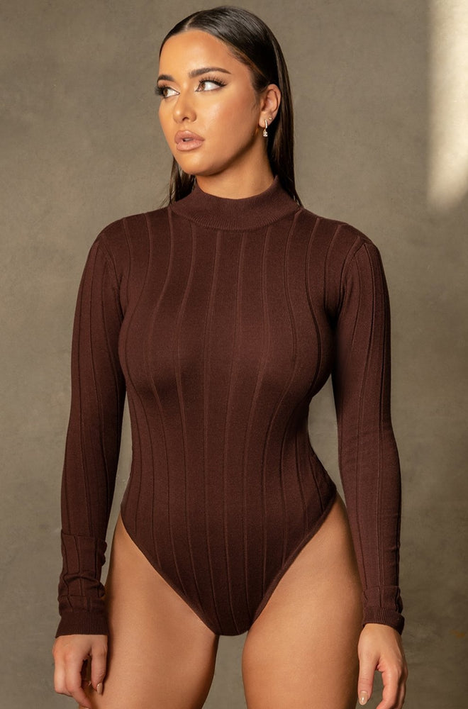 Shania Wide Rib Crew Neck Bodysuit - Chocolate - MESHKI