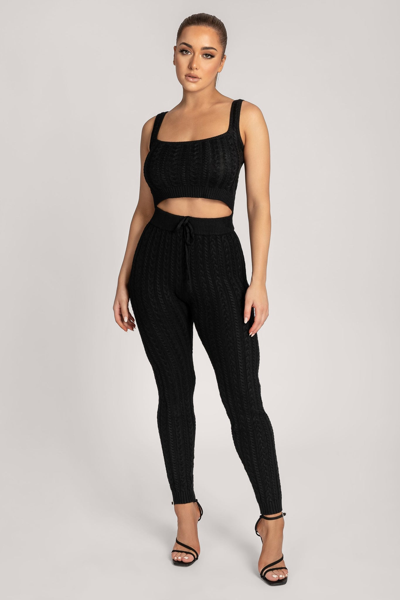 Penelope Cable Knit Leggings - Black - MESHKI