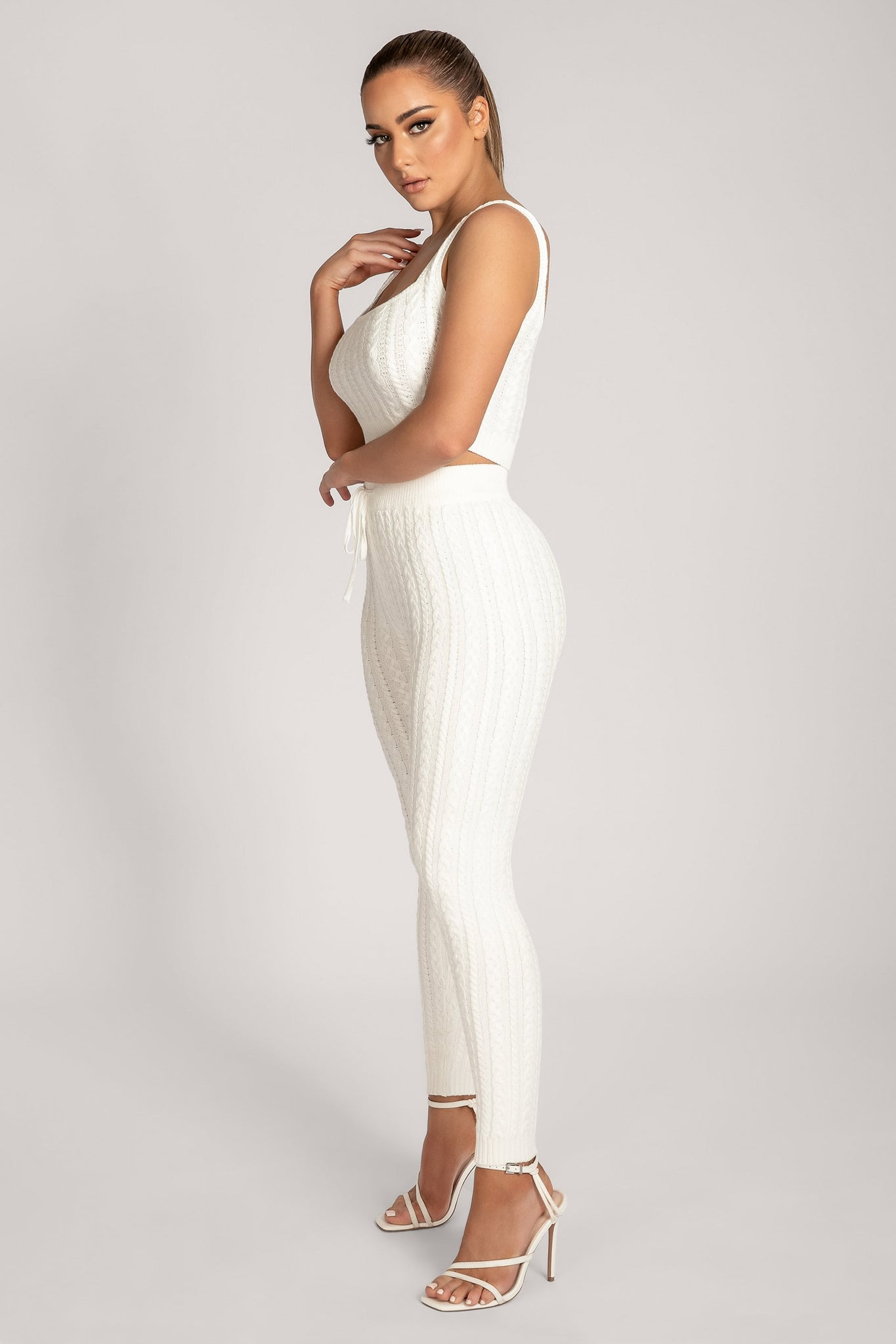 Penelope Cable Knit Leggings - Cream - MESHKI