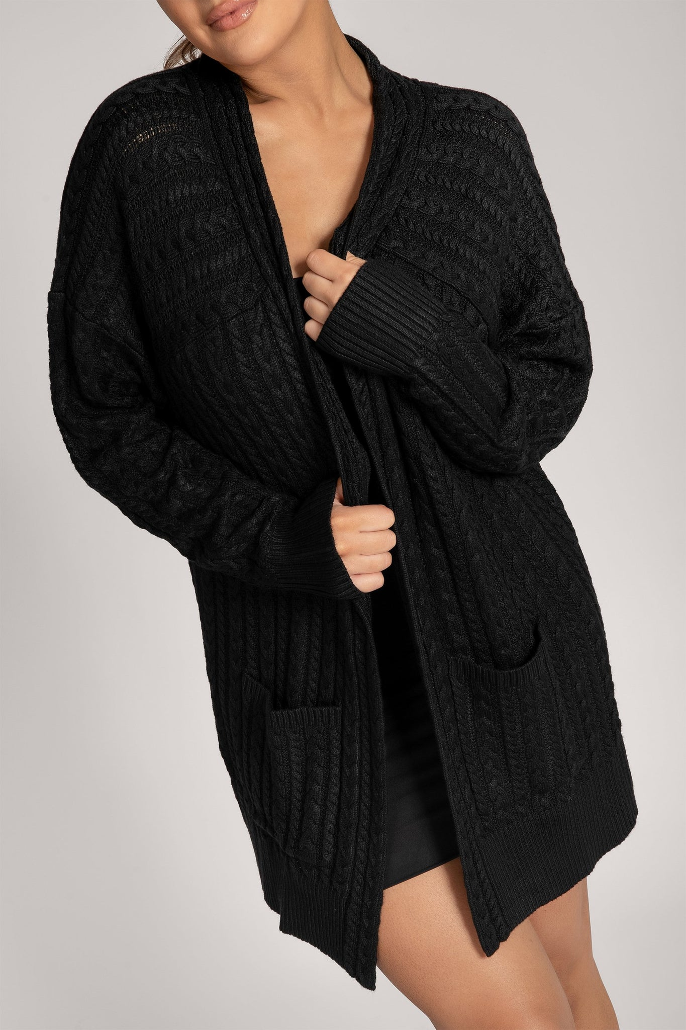 Penelope Cable Knit Cardigan - Black - MESHKI