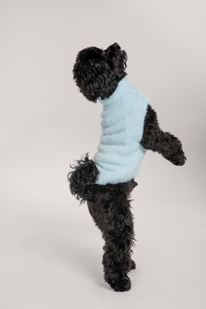Stellie Fluffy Roll Neck Dog Jumper - Baby Blue - MESHKI