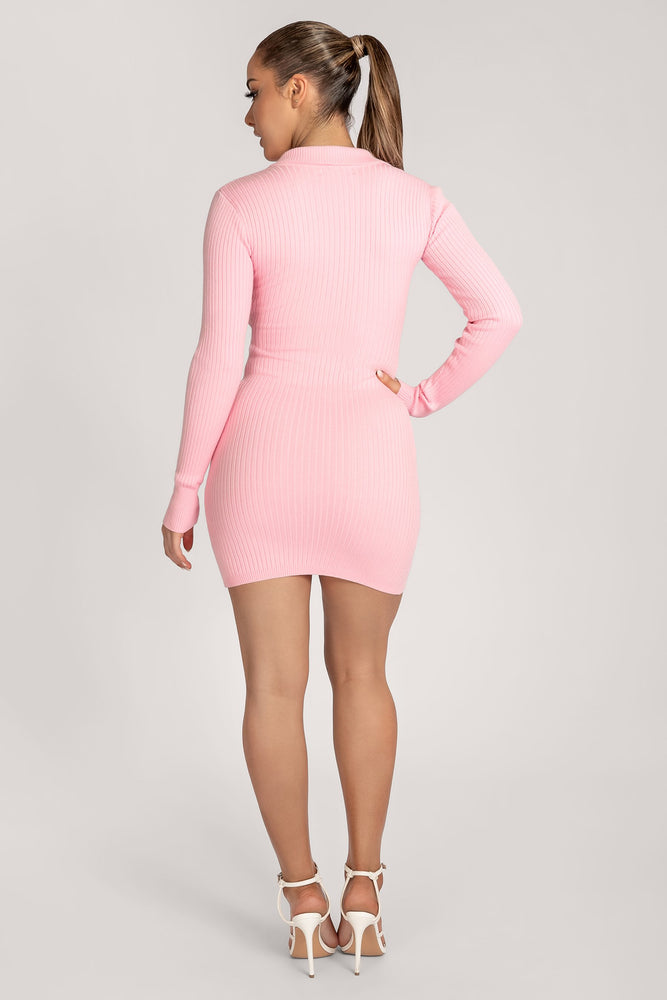 Amae Long Sleeve Mini Dress - Baby Pink - MESHKI