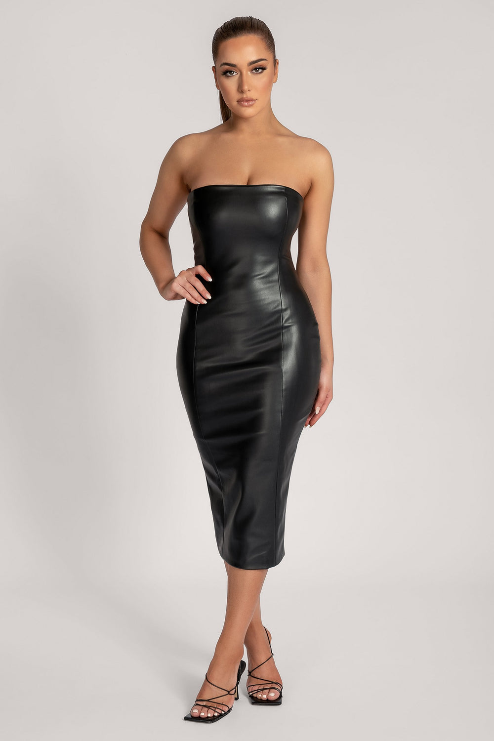 Pamela Strapless Faux Leather Dress - Black - MESHKI