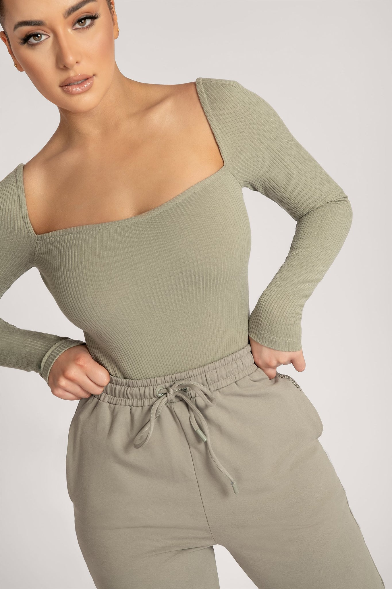 Fernley Ribbed Long Sleeve Bodysuit - Sage - MESHKI