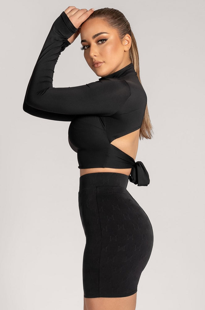 Elsa Cut Out Tie Back Long Sleeve Crop Top - Black - MESHKI