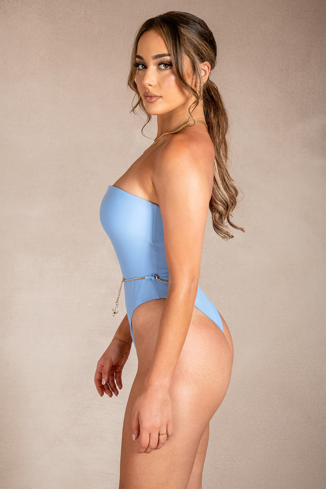 Trinity Strapless Anchor Detail One Piece  - Cornflower Blue