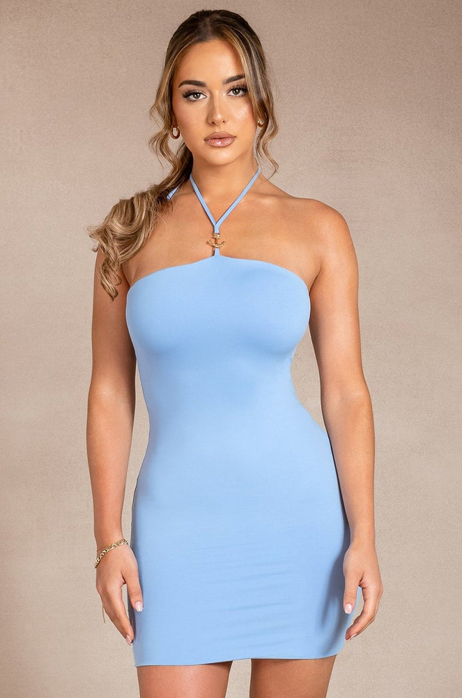 Sinead Halter Neck Anchor Dress - Cornflower Blue