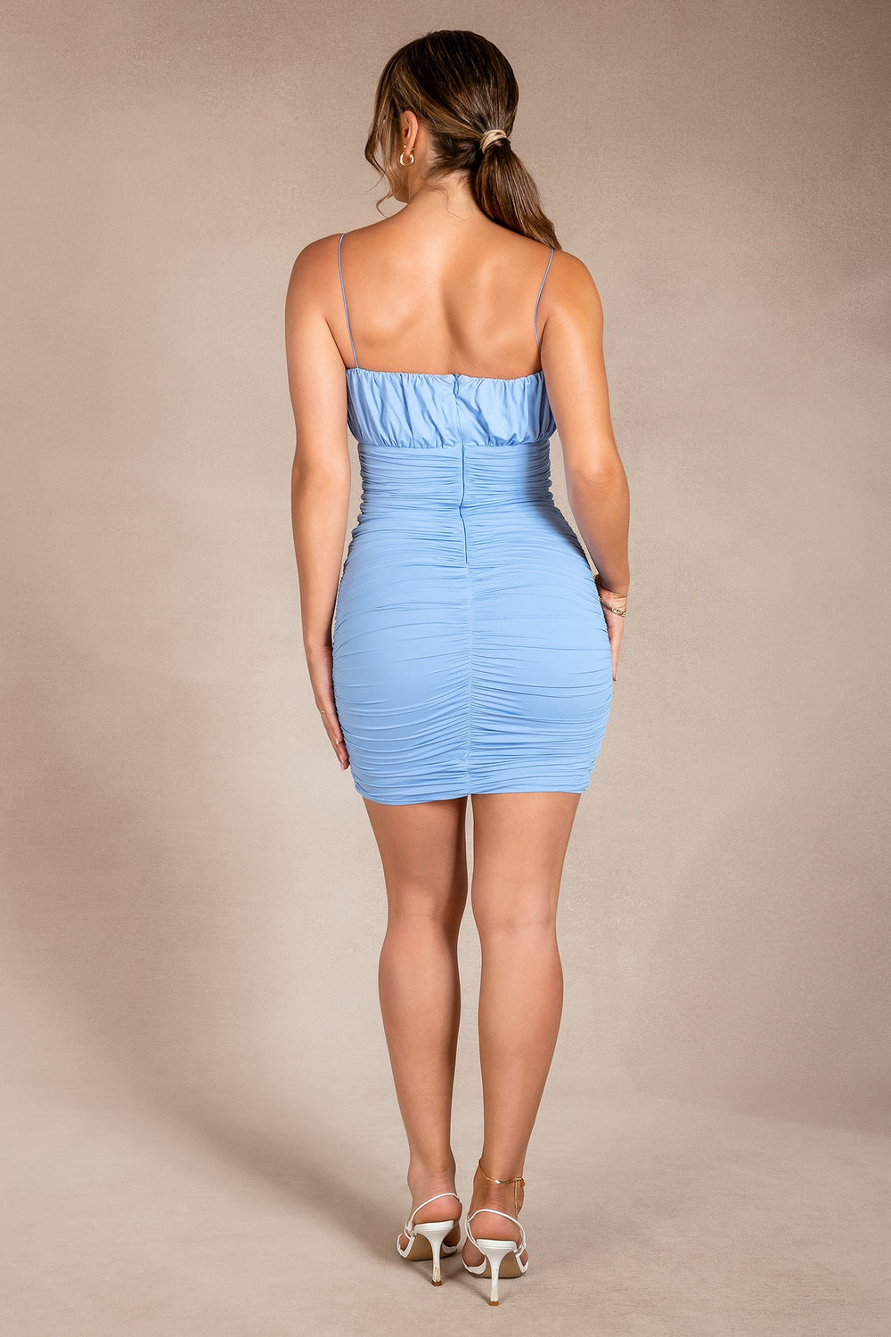 Celena Ruched Thin Strap Mini Dress - Cornflower Blue