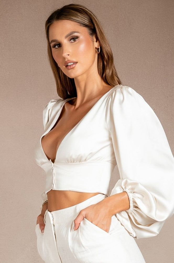 Trista Puff Sleeve Cropped Button Top - White