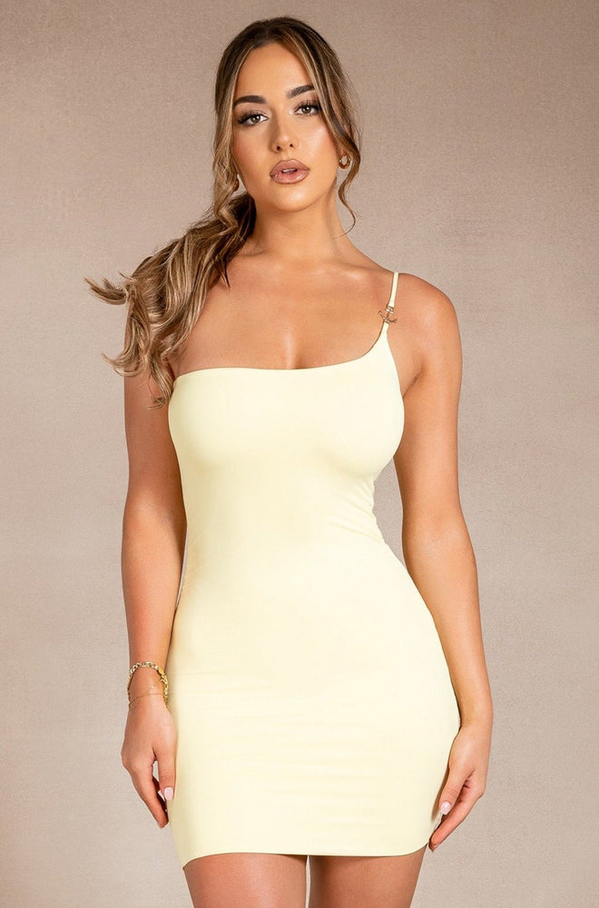 Michelle One Shoulder Anchor Mini Dress - Lemon