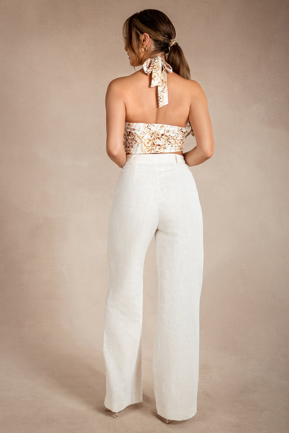 Wendy Wide Leg Linen Pants - Natural