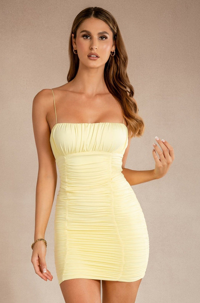 Celena Ruched Thin Strap Mini Dress - Lemon