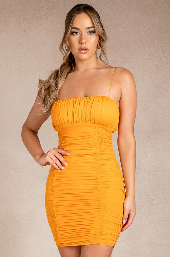 Celena Ruched Thin Strap Mini Dress - Tangerine