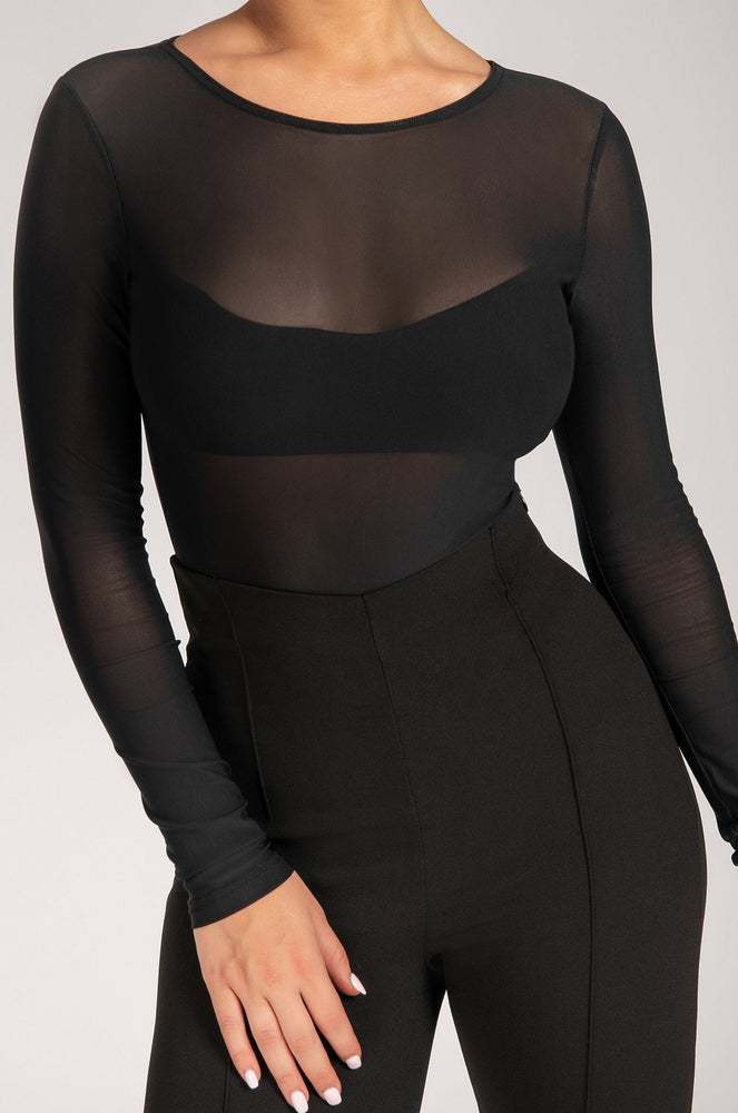 Blaire Mesh Long Sleeve Bodysuit - Black