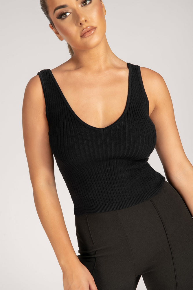 Chaz V-Necked Ribbed Long Line Tank - Black