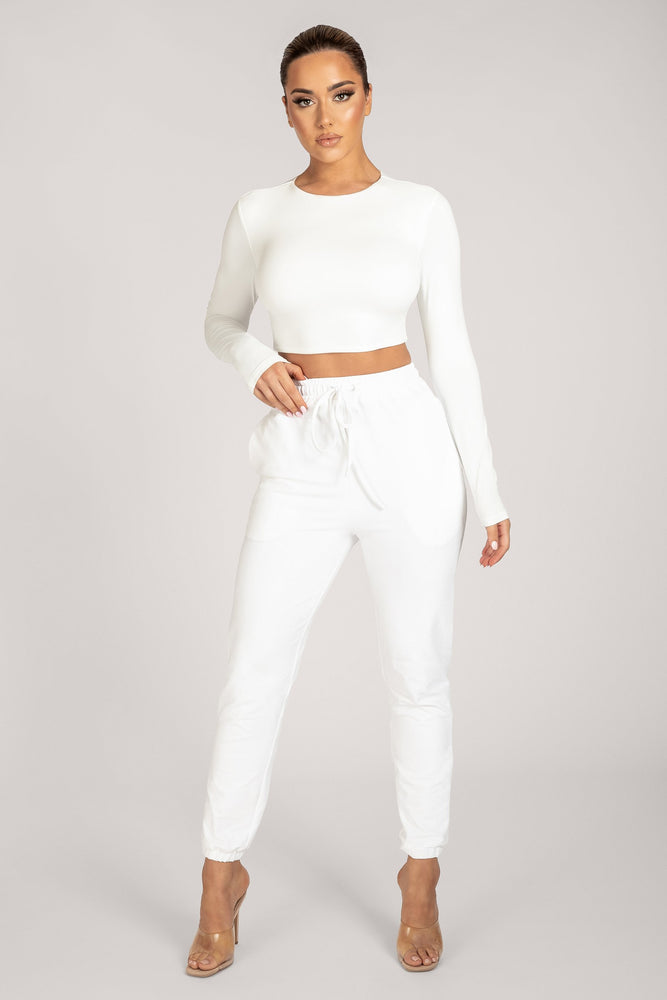 Emely Long Sleeve Crop Top - White