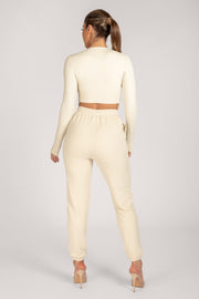 Emely Long Sleeve Crop Top  - Sand