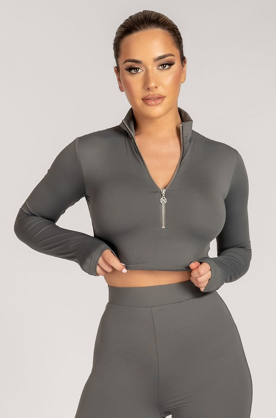 Ashlea Long Sleeve Zip Up Crop Top - Charcoal