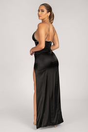 Natalie Diamante Trim Maxi Dress - Black