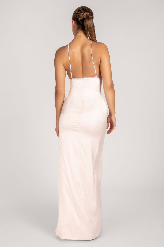 Natalie Diamante Trim Maxi Dress - Blush