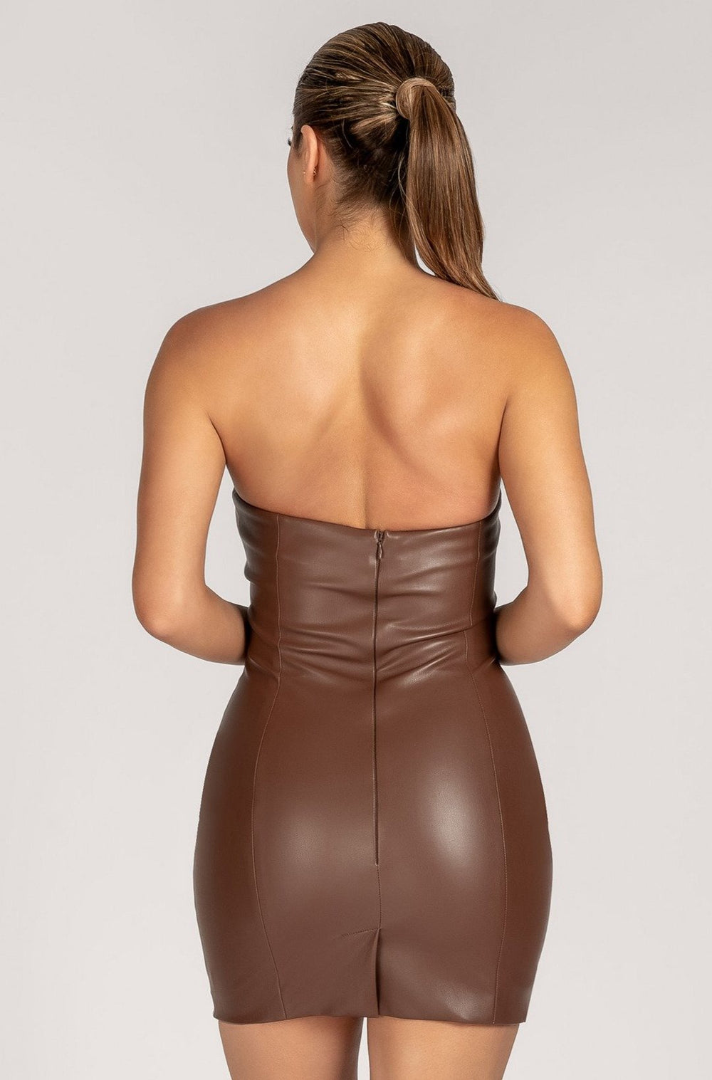 Pamela Strapless Faux Leather Mini Dress - Chocolate