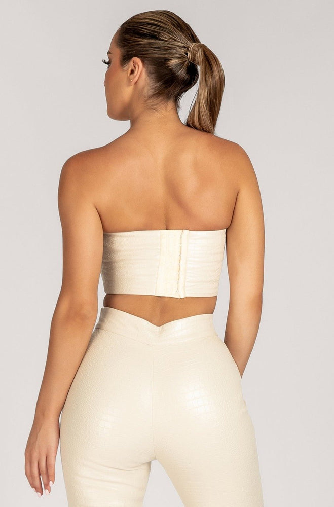 Annabelle Strapless Corset Croc Crop Top - Cream