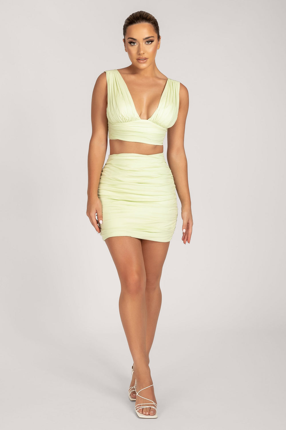 Trinny Triangle Plunge Crop Top - Celery