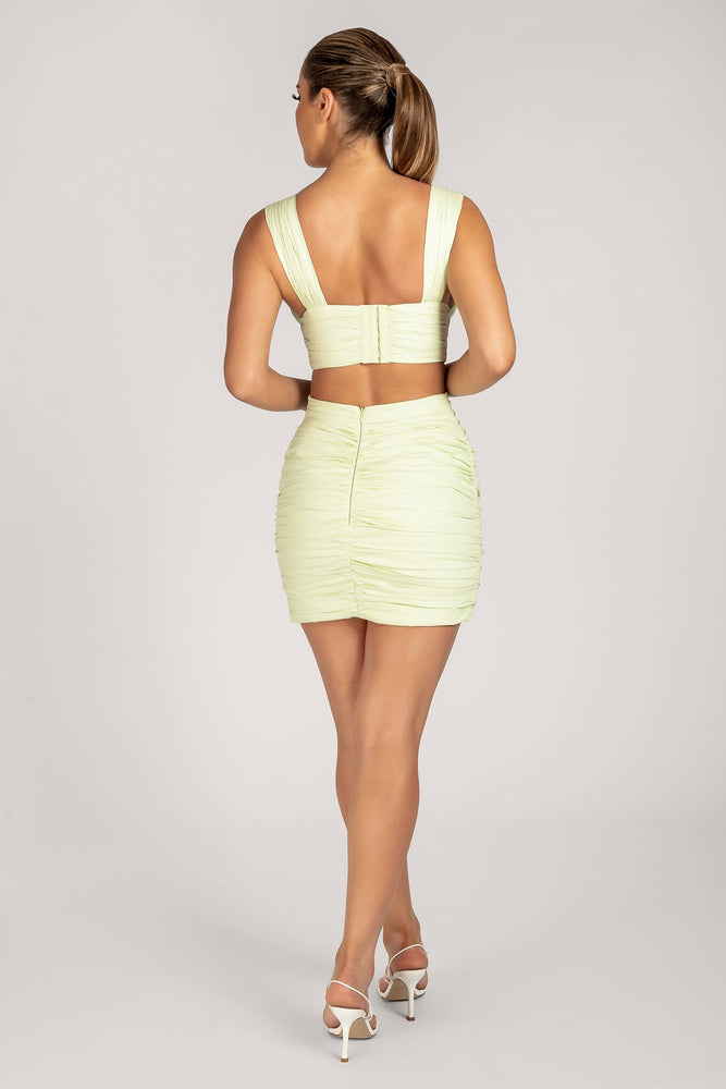 Ronnie Ruched Mini Skirt - Celery