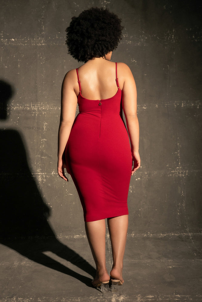 Carrie Contour Crepe Bodycon Dress - Red