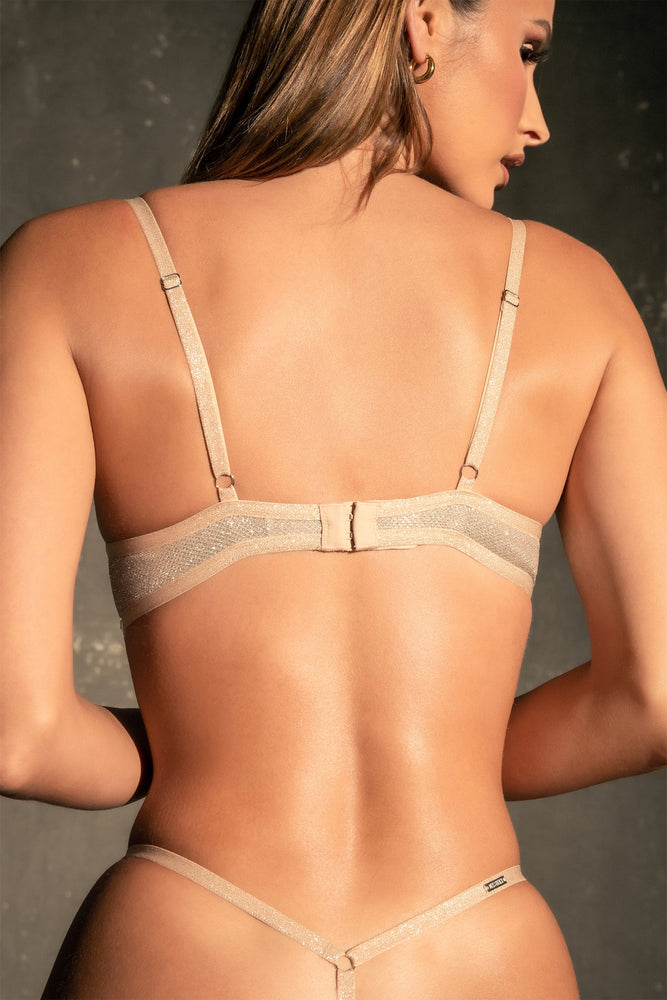 Katie Sparkle Fuller Coverage Jersey Bra - Champagne