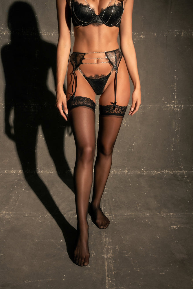 Electra Lace & Crystal Suspender - Black