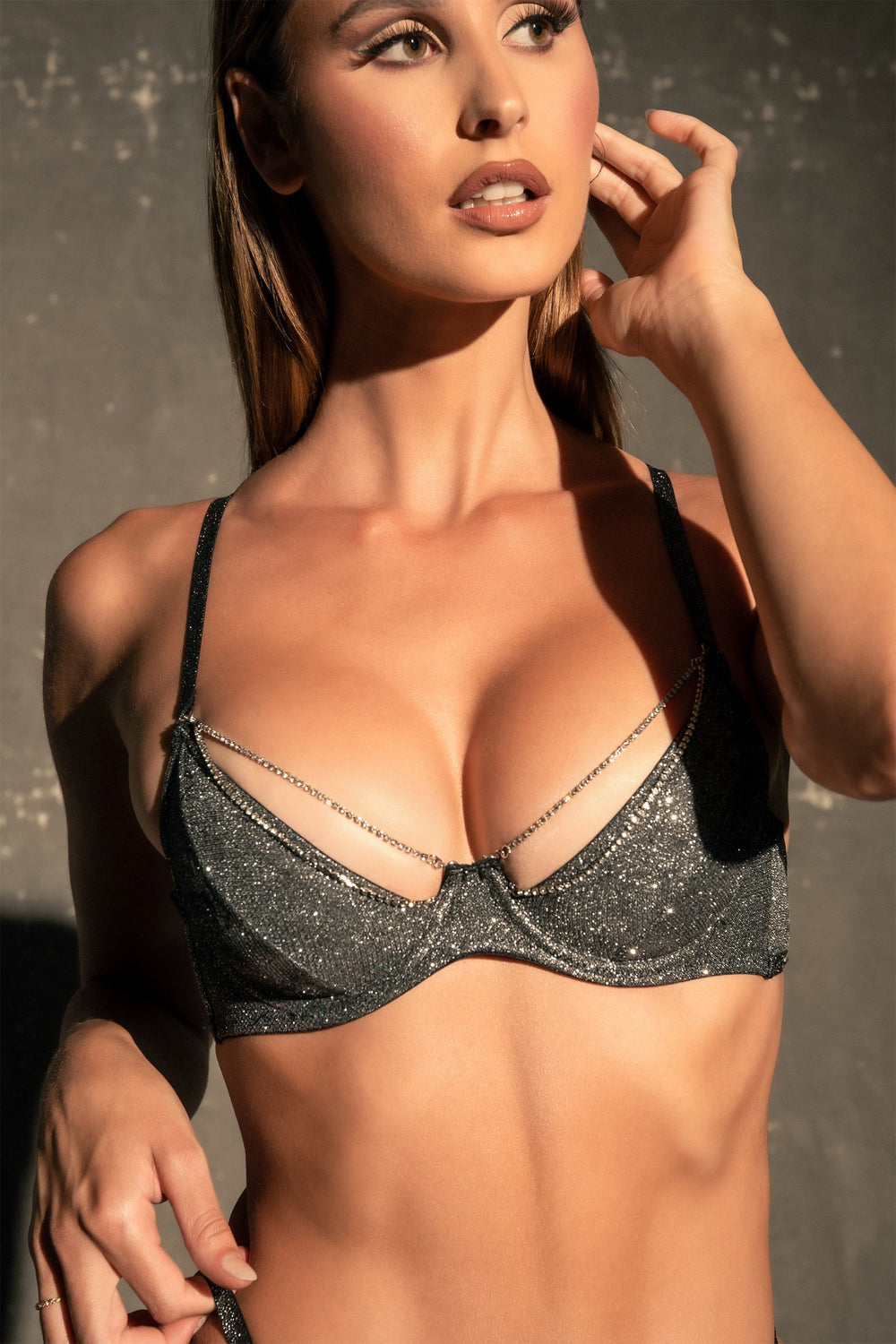 Katie Sparkle Fuller Coverage Jersey Bra- Black