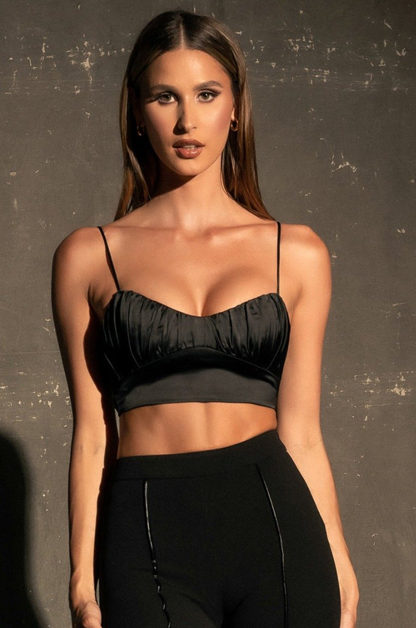 Brea Ruched Bust Crop Top - Black
