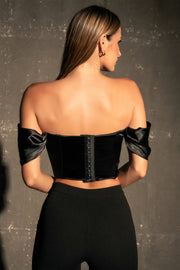 Stacie Sweetheart Neckline Corset Top - Black