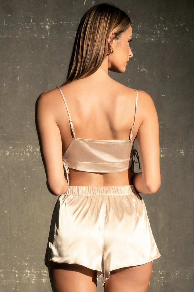 Erin Tie Side Satin Crop Top - Champagne