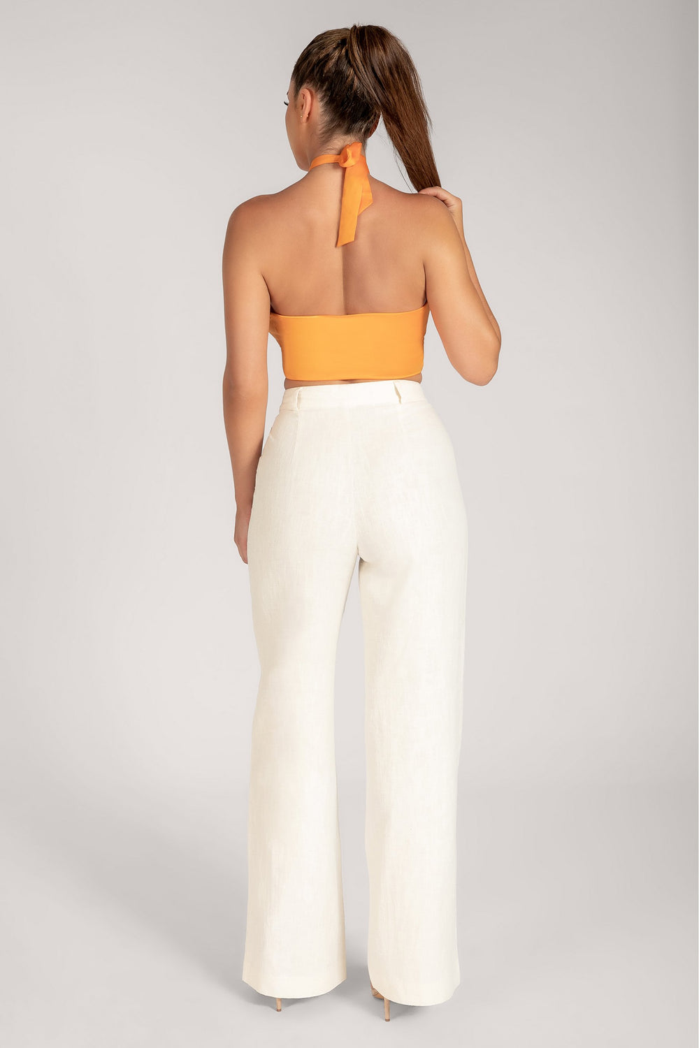 Ines Wrap Halter Neck Crop Top - Tangerine