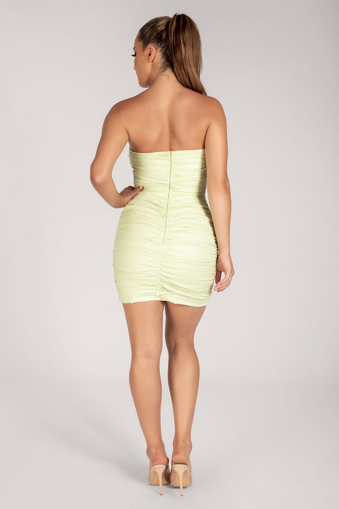 Selita Bandeau Ruched Mini Dress - Celery