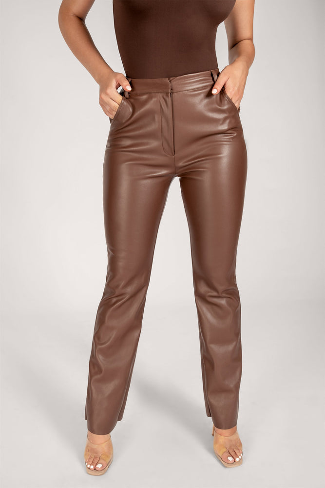 Tyra Wide Leg Faux Leather Pants - Chocolate