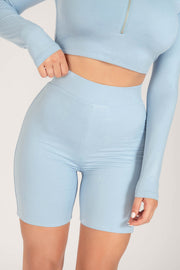 Cameryn High Waisted Bike Short - Cornflower Blue