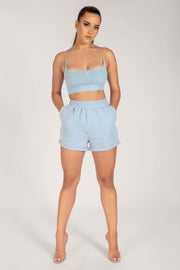 Tahlia Loopback Shorts - Cornflower Blue