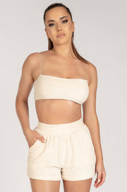 Marina Terry Towelling Thin Strap Crop Top - Cream