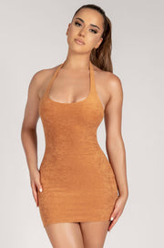 Marina Terry Towelling Halter Mini Dress - Biscuit