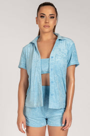 Marina Terry Towelling Long Shirt - Blue
