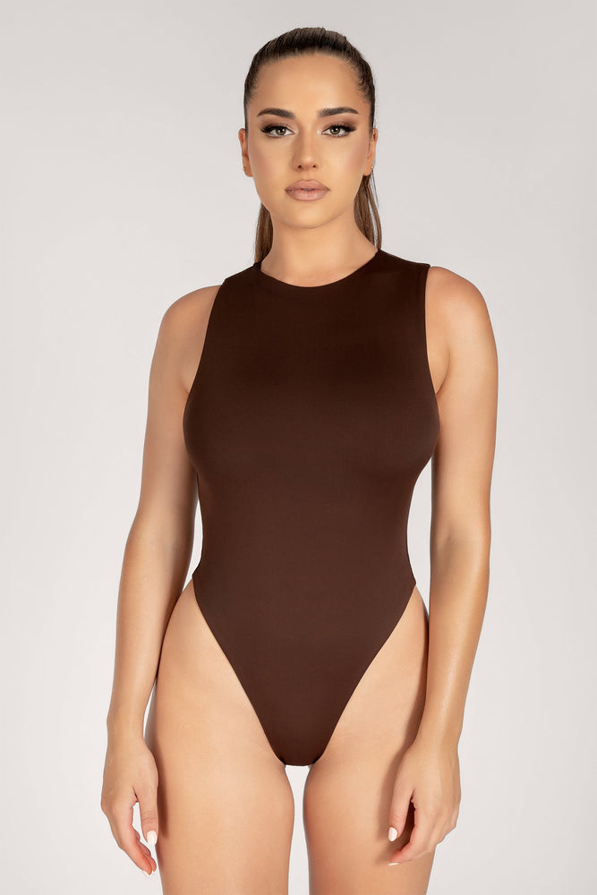 Abbie Racer Neck Tank Bodysuit - Chocolate