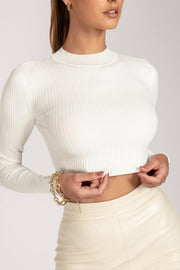 Mila Long Sleeve Knitted Crop Top - White