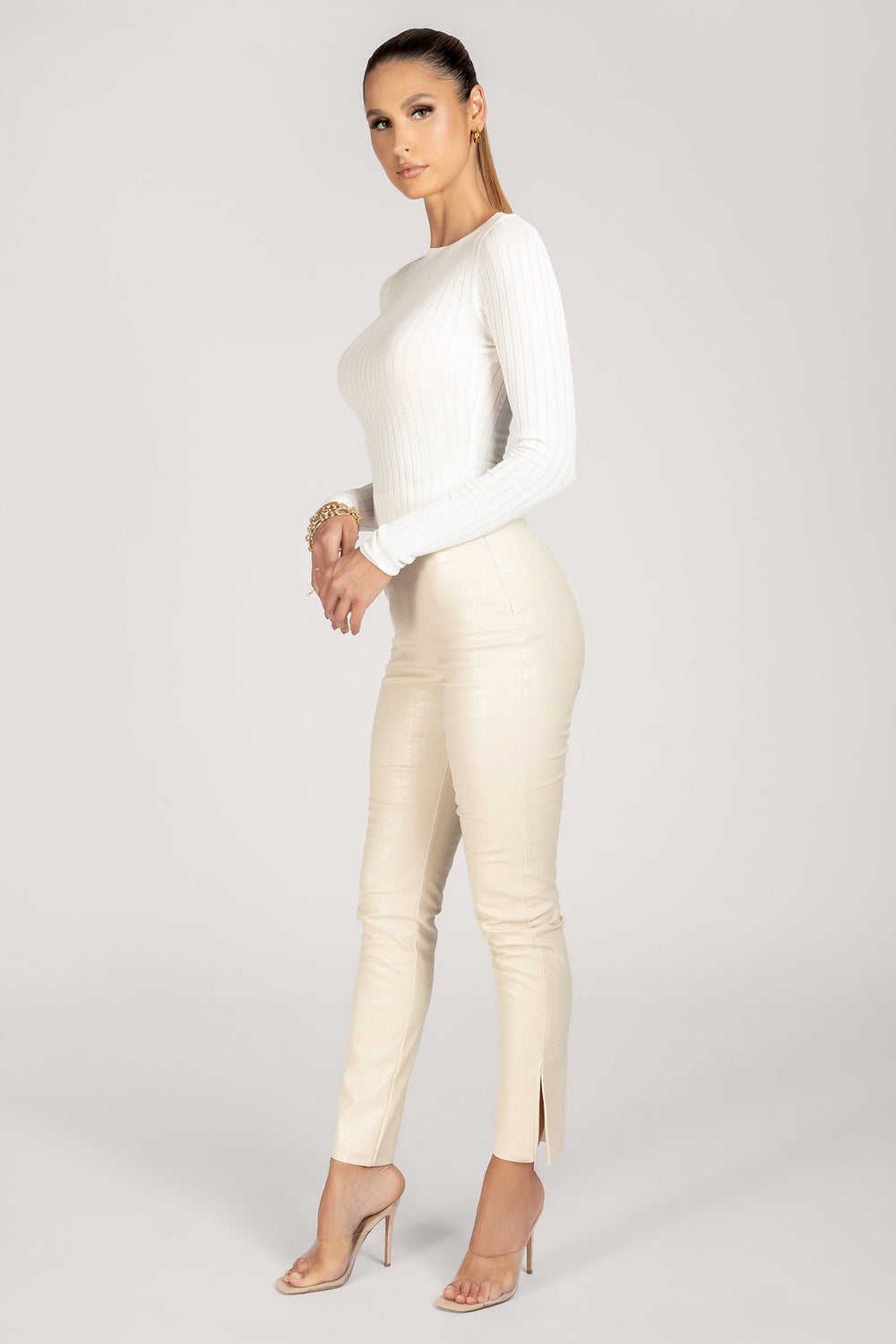 Tia Ribbed Sheer Knit Crew Neck Top - White