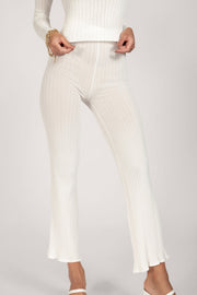 Tia Ribbed Sheer Knit Wide Leg Trousers - White
