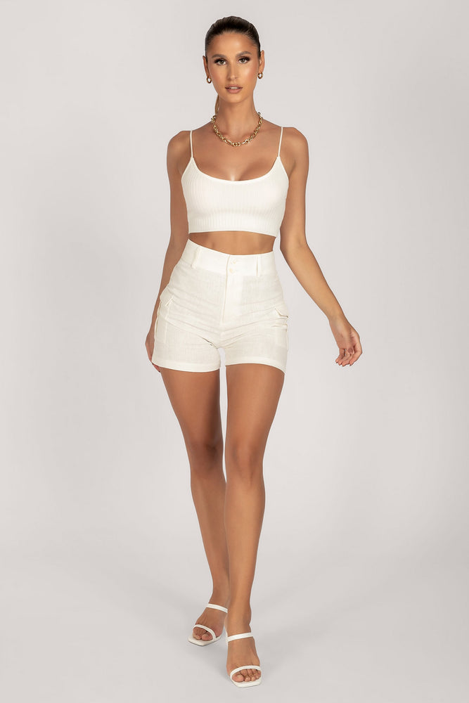 Trixie Knitted Rib Strappy Crop Top - White