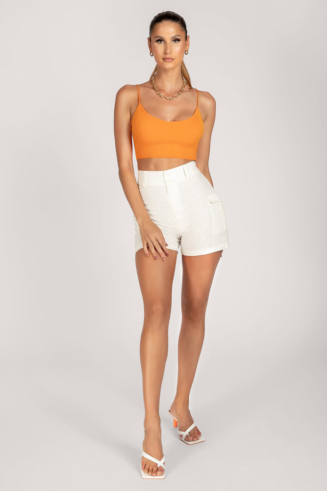 Trixie Knitted Rib Strappy Crop Top - Tangerine