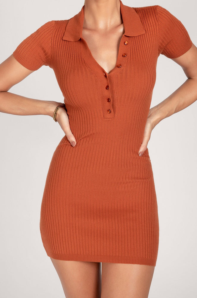 Esma Knitted Button Down Short Sleeve Mini Dress - Rust